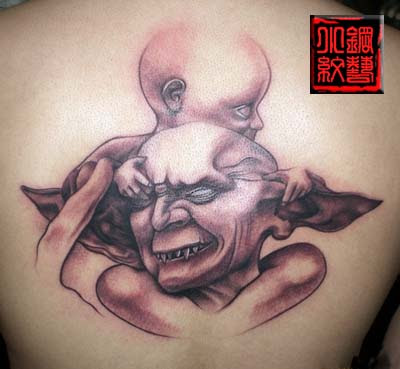 demon family father and son tattoo design