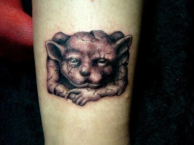 Demon tattoo design on the leg
