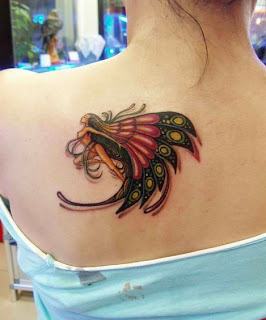 fairy tattoo design on the back for girls