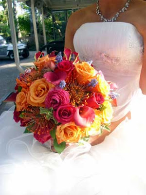 Red and Yellow Rose, Calla Lily Bridal Bouquet