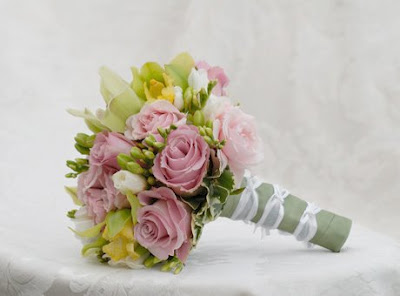 Pink Rose Bouquet with Yellow Orchids and White Freesia