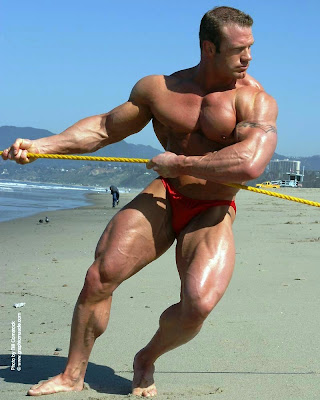 Pull the Rope: Bodybuilder at the Beach