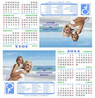 Diseño del calendario semestral 2011 de sobremesa