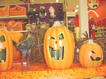 Posing with Halloween decorations at Target