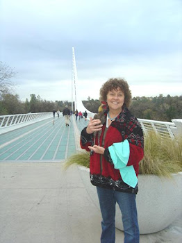 On the Sundial Bridge in Redding California with Mom