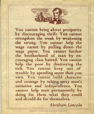 Lincoln quote poverty