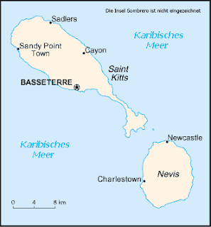 Map of Federation of Saint Kitts and Nevis