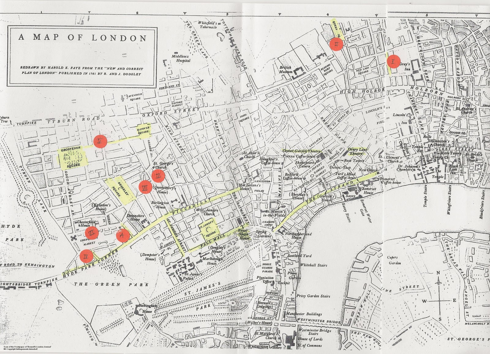 map of london 1761 showing the addresses of leyland manor characters