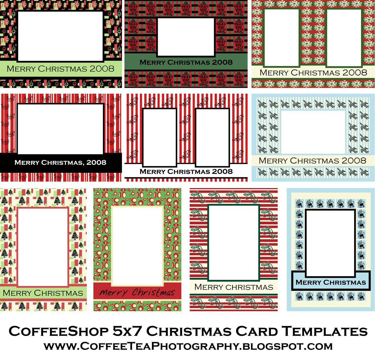 FREE CoffeeShop Christmas Card Templates!