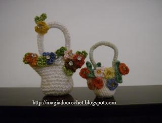 cestinhas crochet flores miniaturas