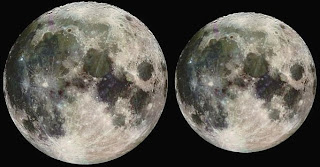 Luna en perigeo (izquierda) y apogeo (derecha)