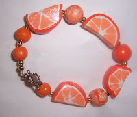 orange polymer clay bracelet image photo picture