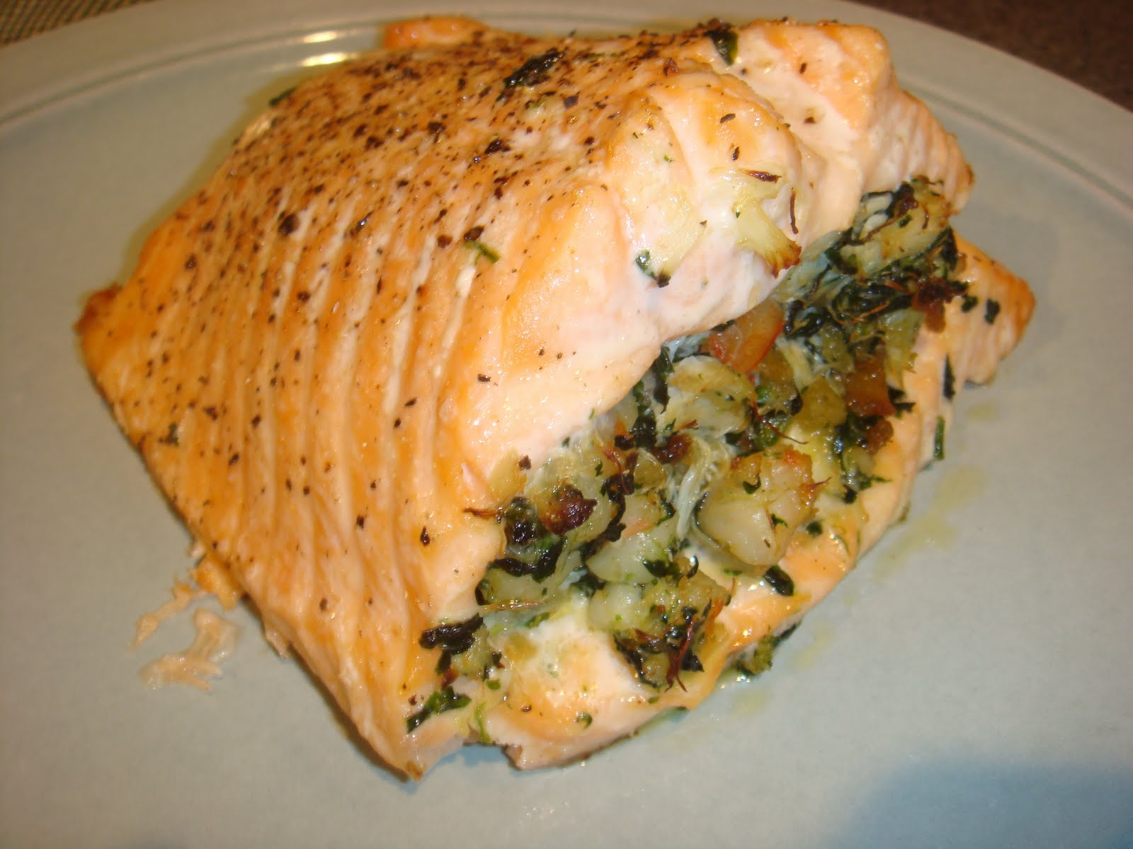 The domestic life seafood stuffed salmon for Stuffed fish with crab meat