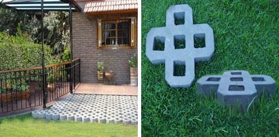 Jardiner a paisajismo bloques para c sped piso verde for Bloques de cemento para pisos de jardin