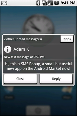sms popup application for android phones