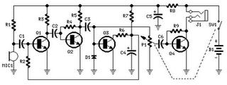Rangkaian 1,5V Earphones Audio Amplifier