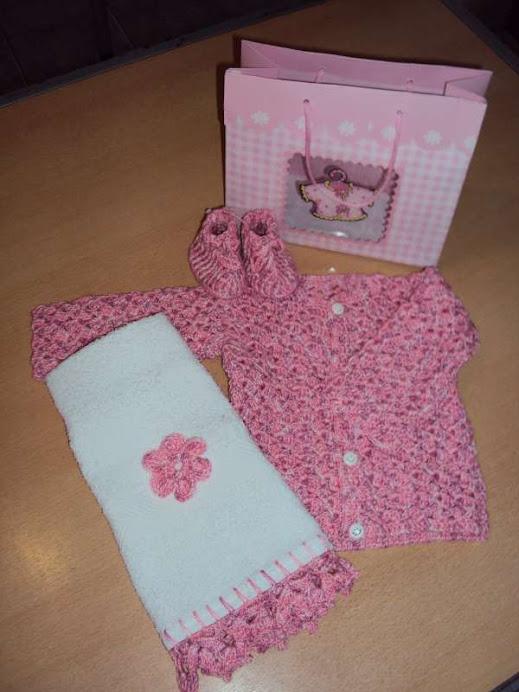 conjunto para bebe rosa matizado