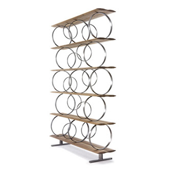 Modular Bookcase Shelves In Solid American Walnut Rings Burnished Steel Structural And Book Holder To Be Positioned Freely Dimensions