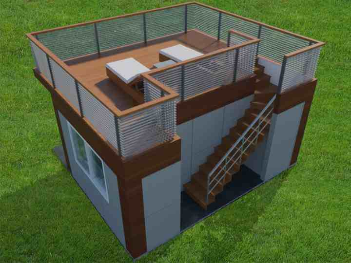 Shedworking jorge fontan 39 s garden office with roof deck for Garden shed on decking