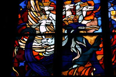 Detail of a stained glass window from a Church in Normandy. From Caen, I believe.