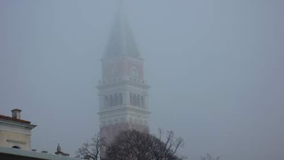Venetian tower in the mist.