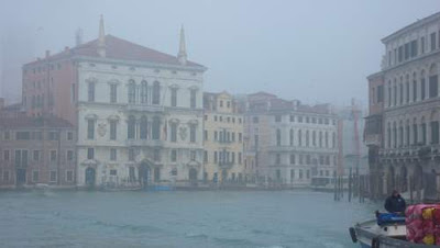 Venice in the morning fog from the Grand Canal