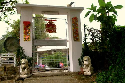 Image of guardian lions outside a private residence in Tuen Mun, Hong Kong.