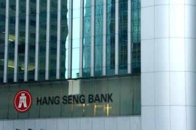 Image of Hang Seng Bank Headquarters in Hong Kong. Click on Image to see a historical graph of the Hang Seng Index.
