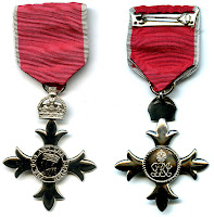 Image of the Member of the Order of the British Empire (MBE) medal, front and obverse. This image, taken by User:ChrisO on 31 May 2005 was released by the creator to the public domain for any purpose and has been sourced through Wikimedia.