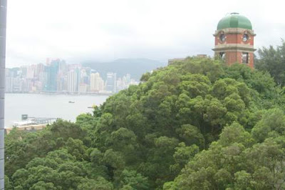 Image of Signal Tower, on top of Beacon Hill, from outside our window, here in Hong Kong.