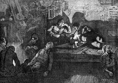 Image of opium smokers in the East End of London, 1874. From the Illustrated London News, 1 August 1874. This image is in the public domain and is sourced from the Wikimedia Commons.