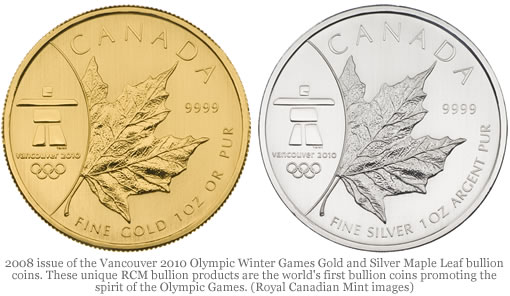 Royal Canadian Mint Launches World's First Bullion Coins Promoting Spirit of Olympic Games