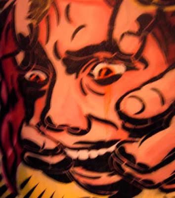 Así me siento yo ahora, cuando no puedo dormir. Como este graffitti de Bogotá. Abril 2008