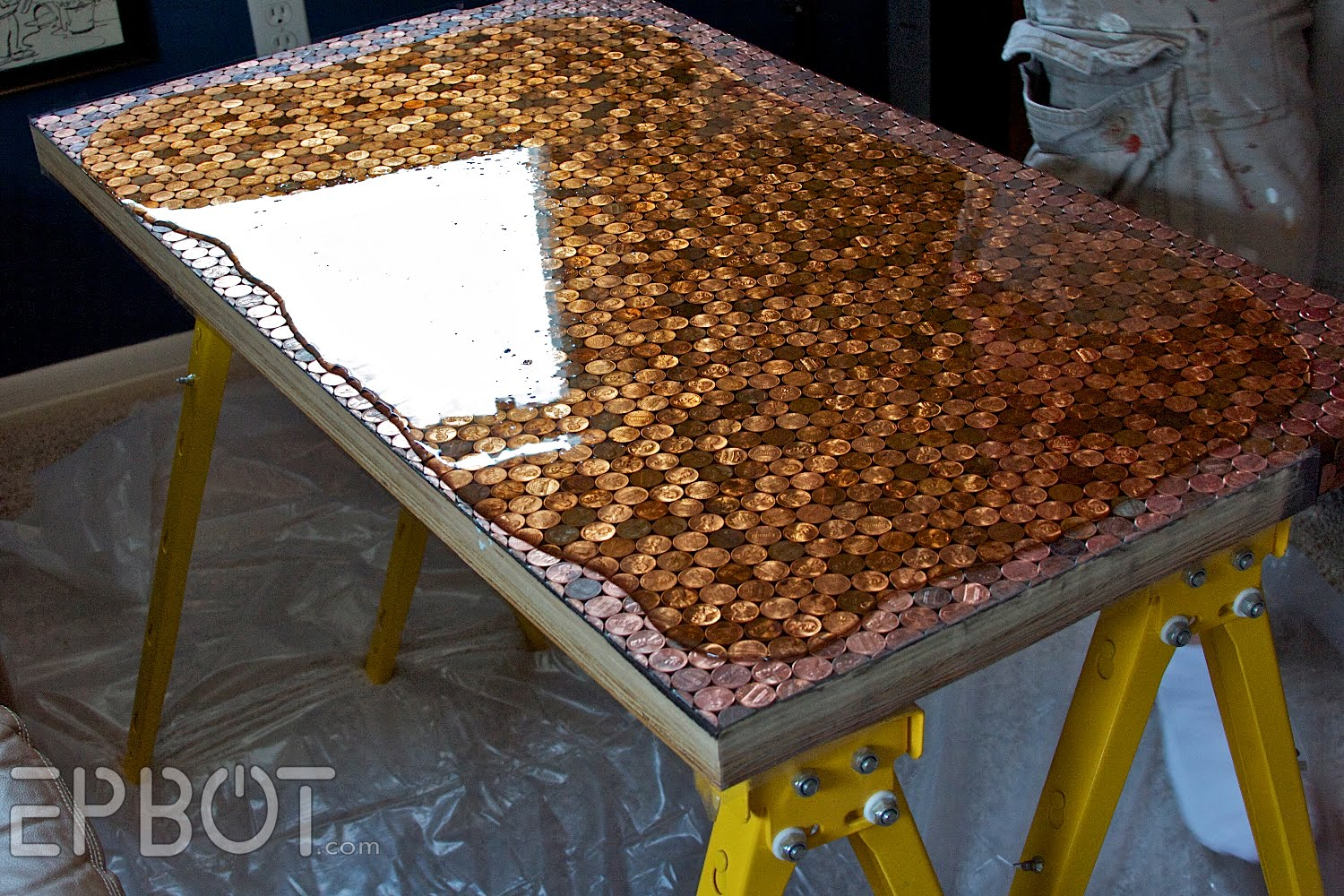 Amazing diy table made from pennies diply Table making ideas