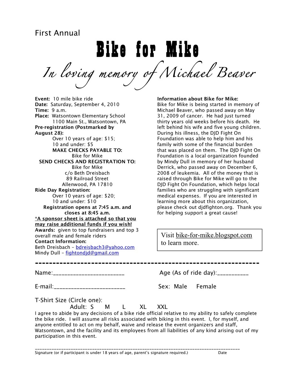 Bike For Mike: Registration And Sponsor Sheet