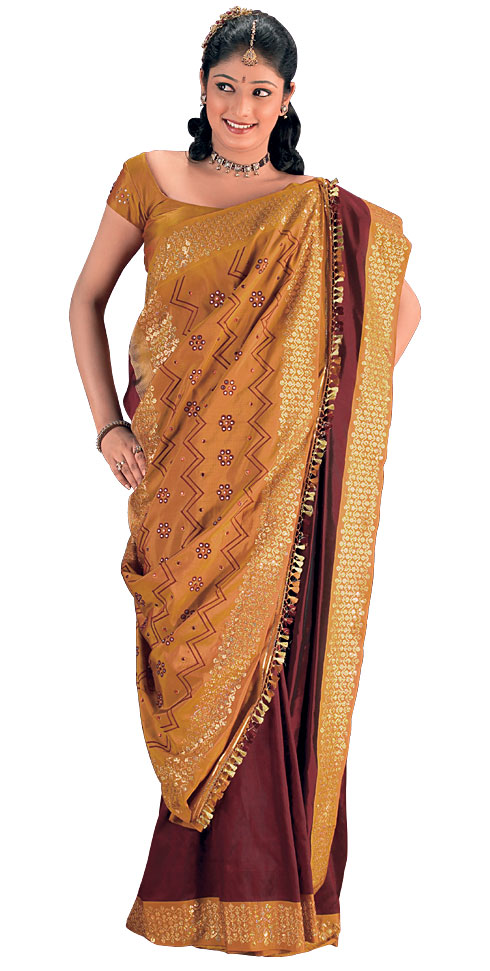 Wearing a sari in the traditional manner