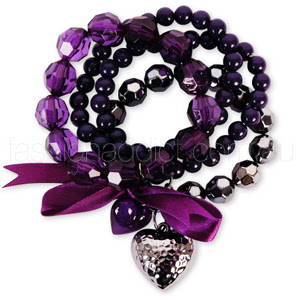 4 Pack Beaded Purple Hearts Bracelet - purple bracelet for all SD sisterzzzzzzzz:x