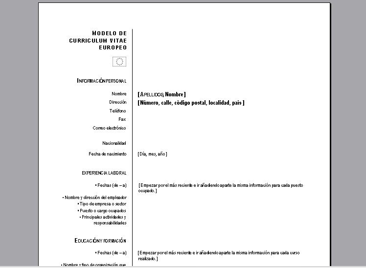 Plantilla curriculum vitae europeo word en ingles - order an essay paper