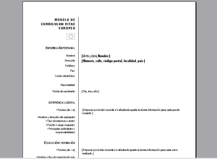 formato curriculum vitae europeo word - Gidiye.redformapolitica.co