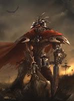 рыцарь в кровавом плаще на поле смерти с жертвой в руке