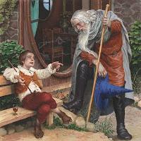 встреча хобита Бильбо Беггинса с волшебником Гендальфом
