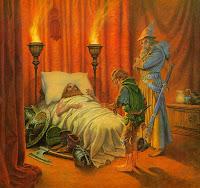 хобит Бильбо Беггинс и волшебник Гендальф у смертного одра короля под горой