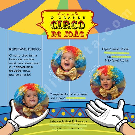 Convite João 1 Ano Tema Circo Dinoleta