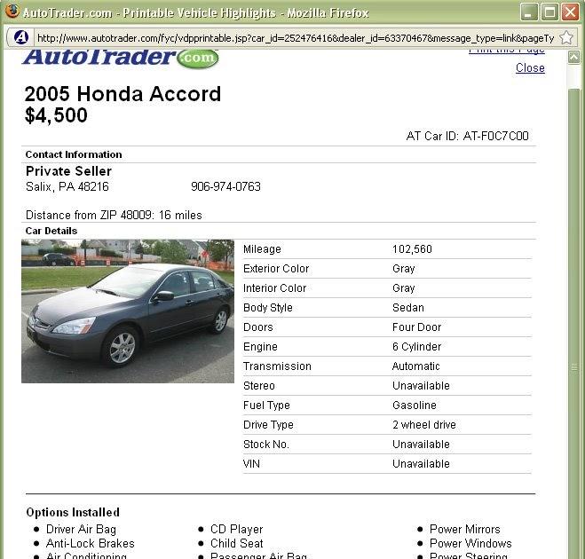 Craigslist Car Selling Template