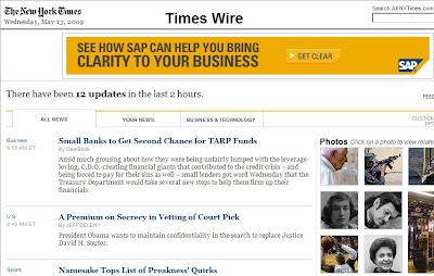"""New York Times estréia """"Blog"""" de Notícias."""