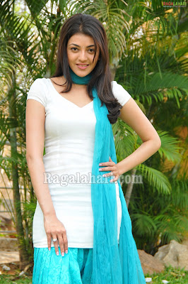 Tamil Actress Kajal Agarwal Cute Blue Dress