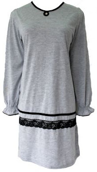 AM30B GRY BLK LACE (S-XL) - MUSLIMAH T SHIRT
