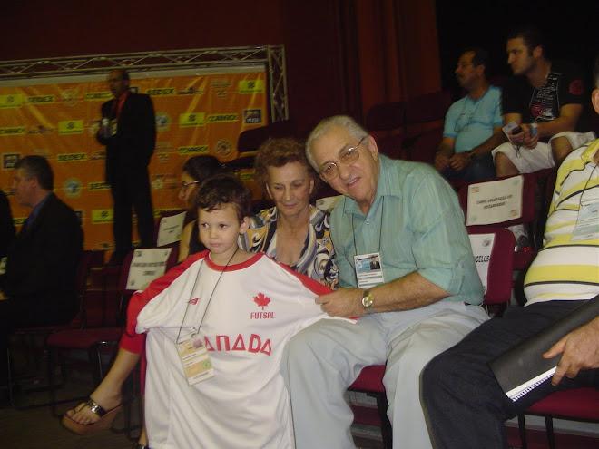 Lucas with Aecio Borba -  Futsal Coach to CBFS President 30 years at the helm.