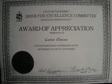 Award of Appreciation ,  City of Nanaimo , British Columbia Canada