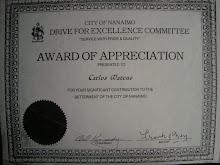 Award of Appreciation ,  City of Nanaimo , British Columbia Canada